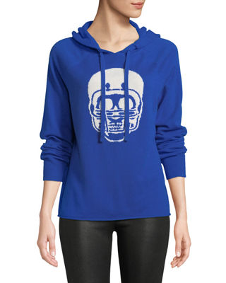 Collegiate Skull Cashmere Hoodie Sweater in Blue Pattern