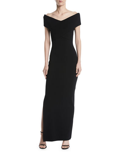 Adina Cross-Front Off-Shoulder Gown Dress