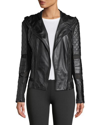 Voyage Hooded Diamond-Stitch Lace-Up Leather Moto Jacket