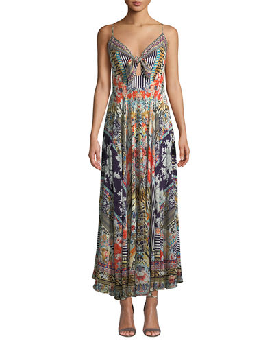 Printed Tie-Front Silk Maxi Dress