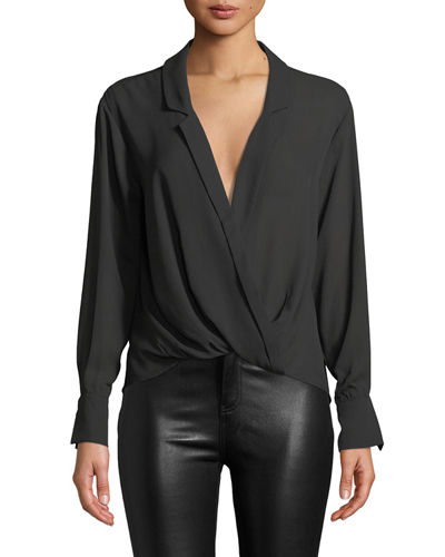 Mimi Georgette Draped V-Neck Long-Sleeve Top