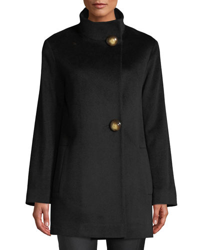 Funnel-Neck Top Coat w/ Large Buttons