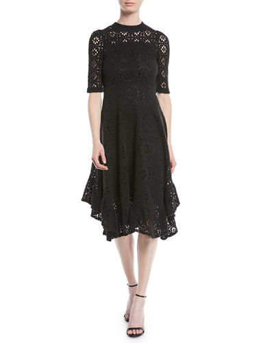 Short-Sleeve Cutout Lace A-Line Dress w/ Ruffled Hem