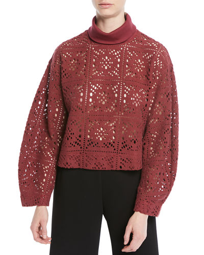 Turtleneck Long-Sleeve Cutout Sweater