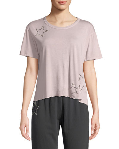 Studded Scoop-Neck Star Activewear Tee