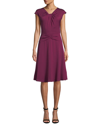 Tatiana Cap-Sleeve A-Line Stretch-Silk Dress