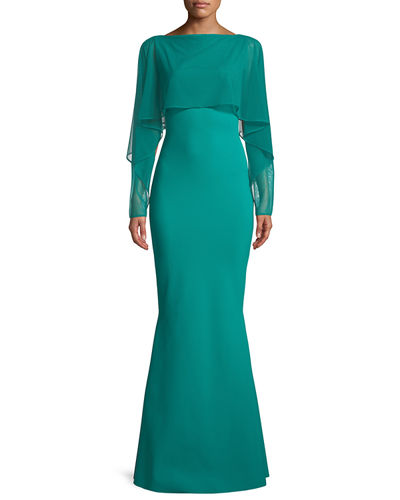 Nomeda Illusion Gown w/ Mesh Capelet