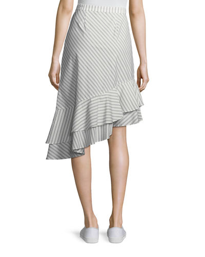 Yenene Striped Asymmetric-Hem Skirt