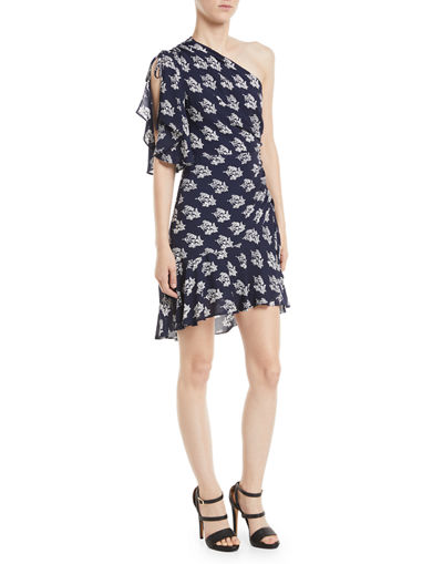 Misha One-Shoulder Ruched Floral-Print Silk Dress