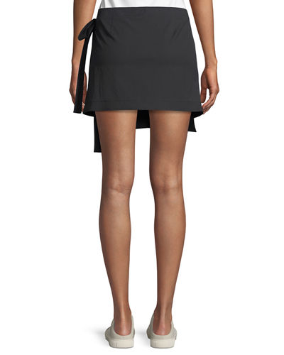 Wrap-Tie Mini Skirt in Stretch Cotton