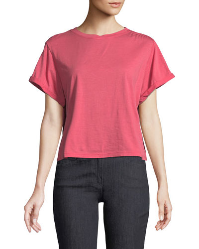 Canon Crewneck Cap-Sleeve Cotton Tee