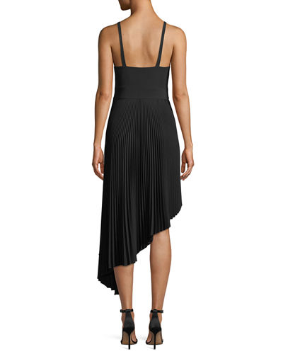 Eliza Italian Cady Pleated Asymmetric Dress