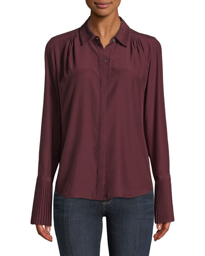 Long-Sleeve Pintuck Button-Front Silk Blouse