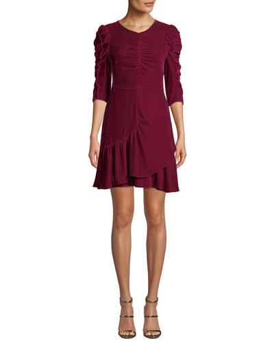 Ruched Velvet 3/4-Sleeve Flounce Dress