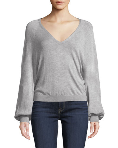 Cropped V-Neck Blouson-Sleeve Sweater