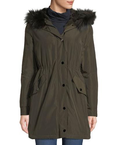 Hooded Microfabric Jacket w/ Fur Lining & Trim