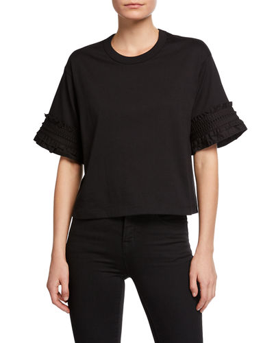 Crewneck Cotton Tee with Frill Sleeves