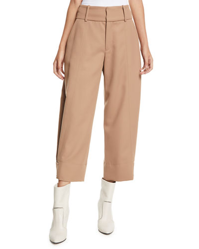 Cropped Wide-Leg Wool-Blend Trousers