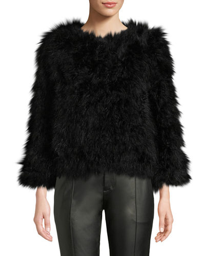 Knit Ostrich Feather Jacket