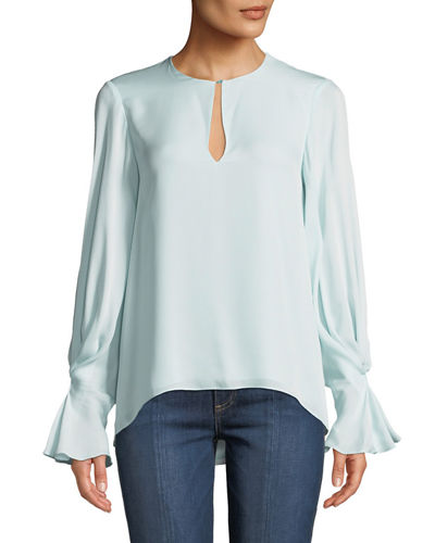 Abekwa Long-Sleeve Silk Top