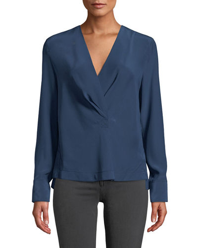 Shields Silk Drape-Front Long-Sleeve Blouse