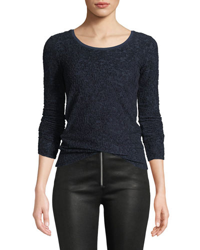 Collier Textured Jacquard Long-Sleeve Top