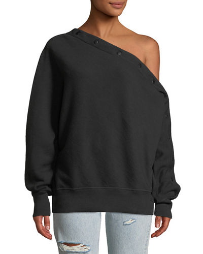 Kate One-Shoulder Snap-Up Pullover Top
