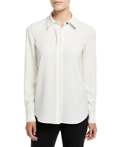 Lafayette 148 Blouses OLGA FINESSE CREPE BLOUSE WITH TOPSTITCH DETAIL