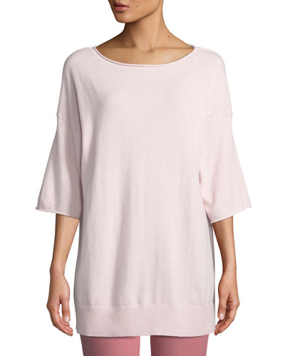 Cashmere Relaxed Short-Sleeve Pullover