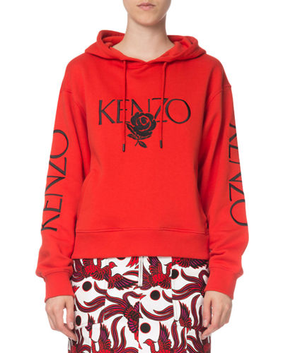 2e8d028a Bold Embroidered Rose Logo Hoodie