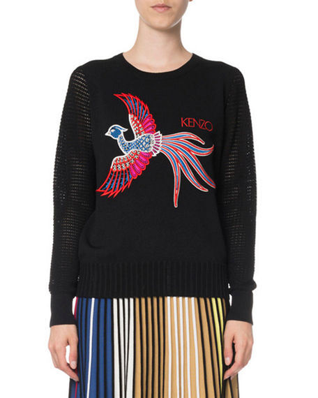 Kenzo Cottons LONG-SLEEVE GRAPHIC KNIT SWEATER TOP