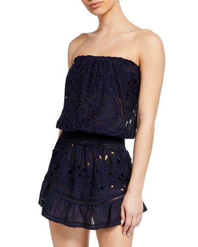 Kalani Embroidered Strapless Coverup Dress