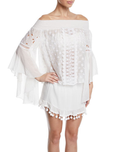 Elsie Embroidered Long-Sleeve Coverup Top