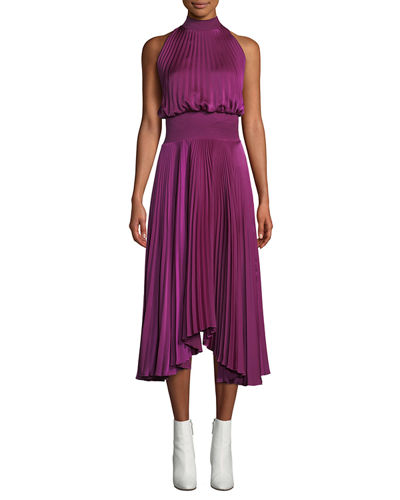 8ef8f2dbd2 Renzo High-Neck Sleeveless Pleated Satin Midi Cocktail Dress