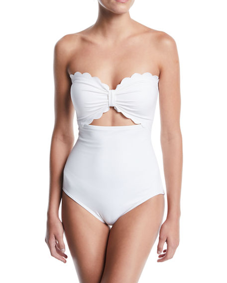 Kate Spade One-pieces SCALLOPED CUTOUT BANDEAU ONE-PIECE SWIMSUIT