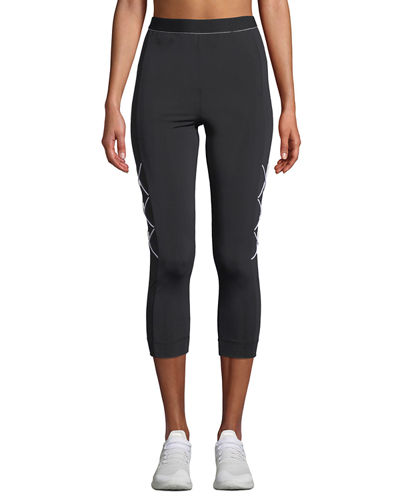 High-Waist Cropped Leggings with Cording