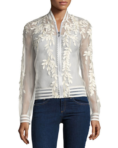 Brandy Floral Illusion Silk Bomber Jacket