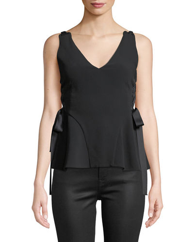 Grommet Crepe Sleeveless Lace-Up Top