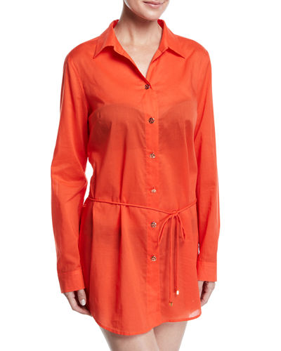 Brigitte Long-Sleeve Cotton Beach Tunic