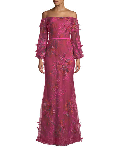c611a176517f Marchesa Notte Off-the-Shoulder Bishop-Sleeve 3D Floral-Embroidered Gown