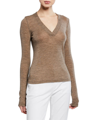 Long-Sleeve Wool V-Neck Top