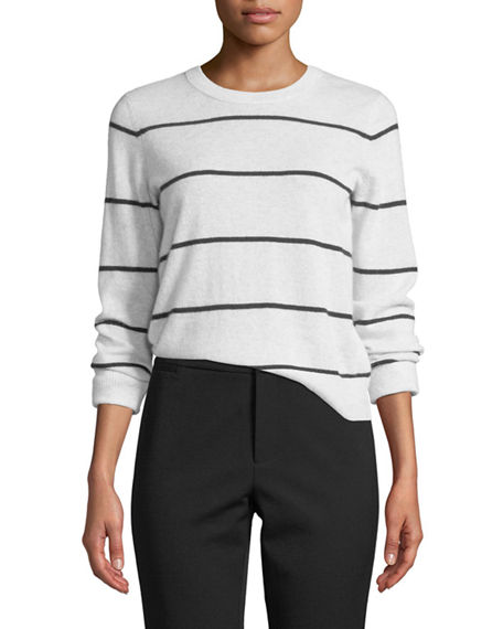 Vince Sweaters STRIPED CASHMERE PULLOVER SWEATER