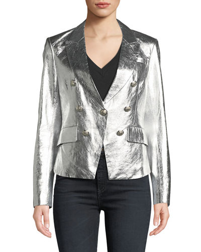 Cooke Single-Button Metallic Leather Blazer