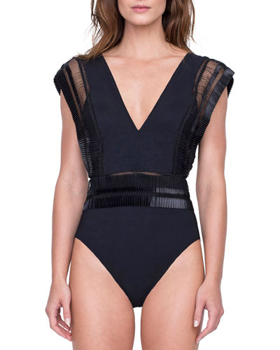 Aura Deep V One-Piece Swimsuit