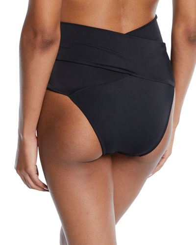 Lucette Wrap-Front High-Waist Bikini Swim Bottoms