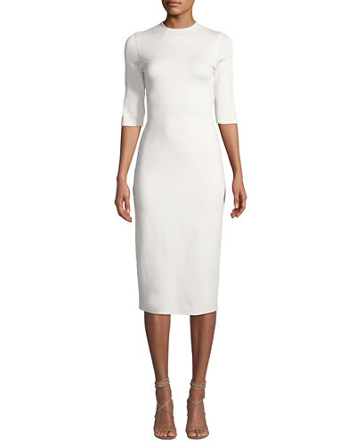 Delora Fitted Mock-Neck Midi Dress