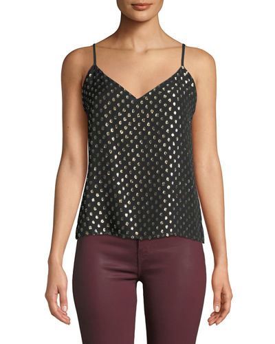 L'Agence Jane Metallic Jacquard Sleeveless V-Neck Top
