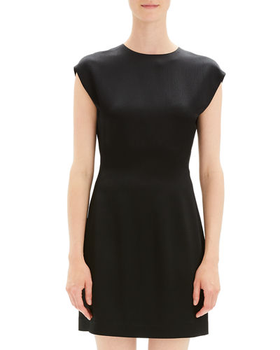Structured Fitted Short-Sleeve Cocktail Dress