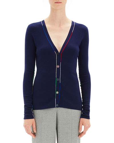 Embroidered V-Neck Wool Cardigan