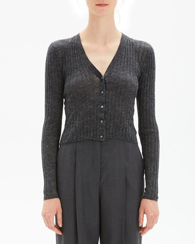 Cropped Button-Front Ribbed Alpaca Cardigan